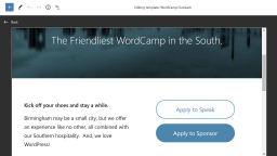 FSE Outreach Round #6: Building a WordCamp Landing Page via the Template Editor